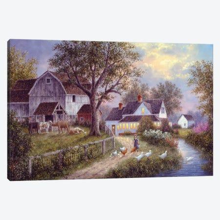 Evening Chores Canvas Print #LWN51} by Dennis Lewan Canvas Art Print