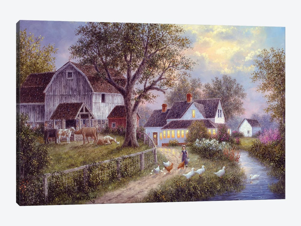 Evening Chores by Dennis Lewan 1-piece Canvas Print
