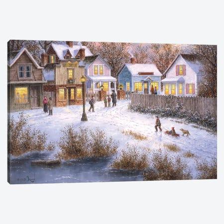 Evening Shoppers Canvas Print #LWN54} by Dennis Lewan Canvas Art