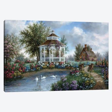 Garden Gazebo Canvas Print #LWN58} by Dennis Lewan Canvas Print