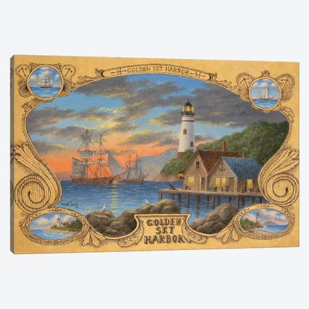 Golden Sky Harbor Canvas Print #LWN61} by Dennis Lewan Canvas Wall Art