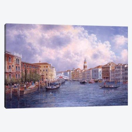 Market Day in Venice 3-Piece Canvas #LWN82} by Dennis Lewan Canvas Art
