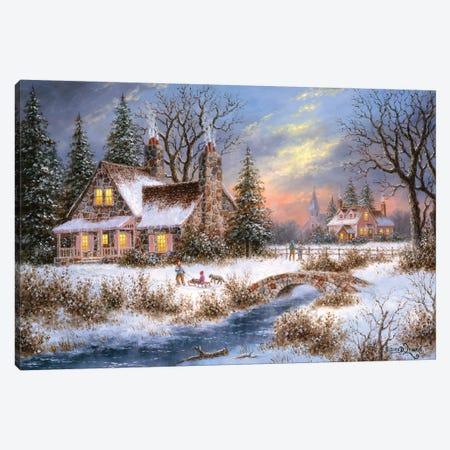 Pine Creek Lodge Canvas Print #LWN93} by Dennis Lewan Art Print