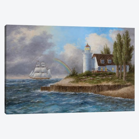Pointe Betsie, Yesterday and Today Canvas Print #LWN94} by Dennis Lewan Canvas Wall Art