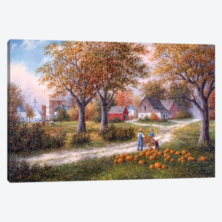 Pumpkin Harvest Canvas Print #LWN96} by Dennis Lewan Canvas Wall Art