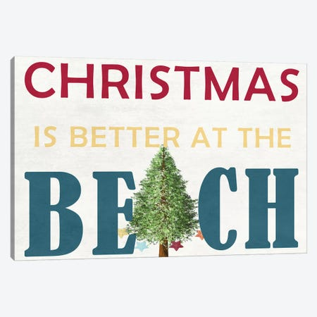 Christmas At The Beach Canvas Print #LWS22} by Sheldon Lewis Canvas Print