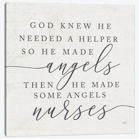 God Made Angel Nurses Canvas Print #LXM10} by Lux + Me Designs Canvas Art