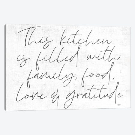 Family, Food, Love and Gratitude Canvas Print #LXM30} by Lux + Me Designs Canvas Art