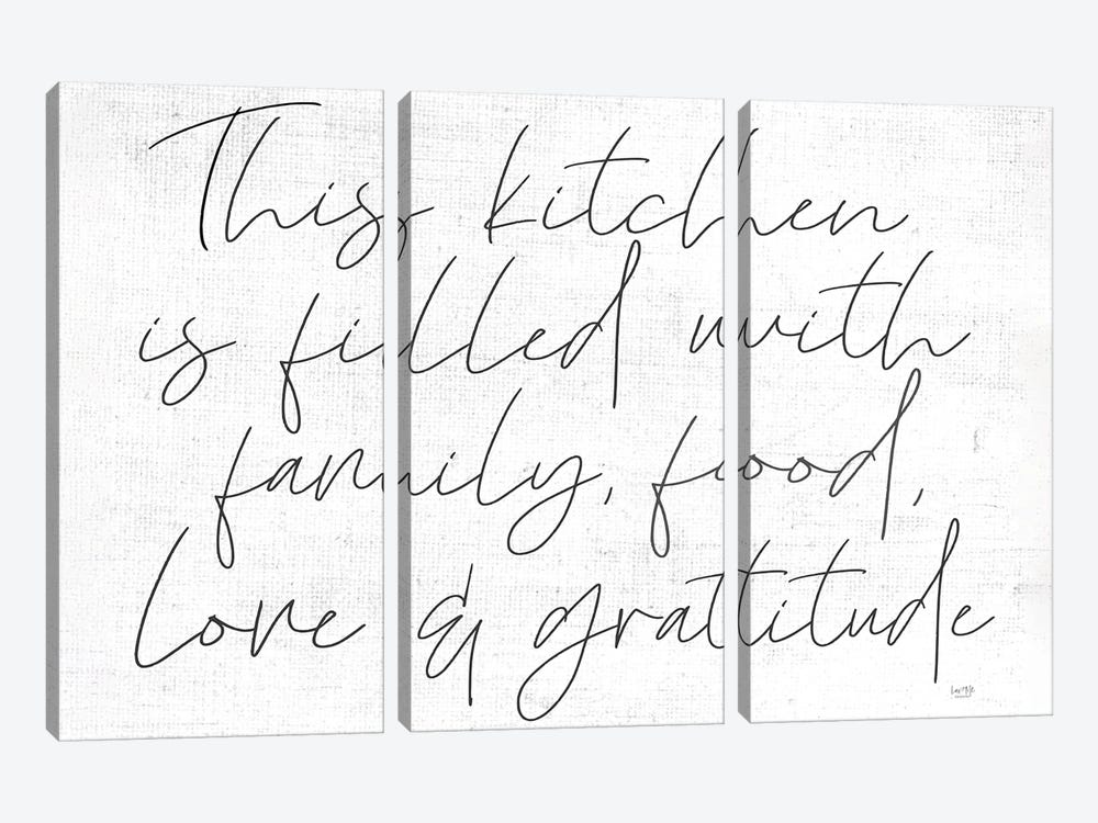 Family, Food, Love and Gratitude by Lux + Me Designs 3-piece Canvas Print