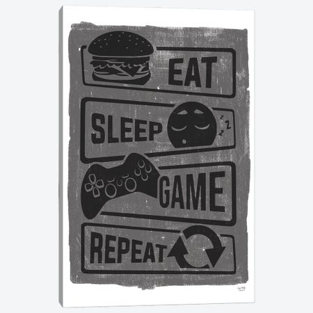 Eat, Sleep, Game, Repeat Canvas Print #LXM60} by Lux + Me Designs Canvas Art Print