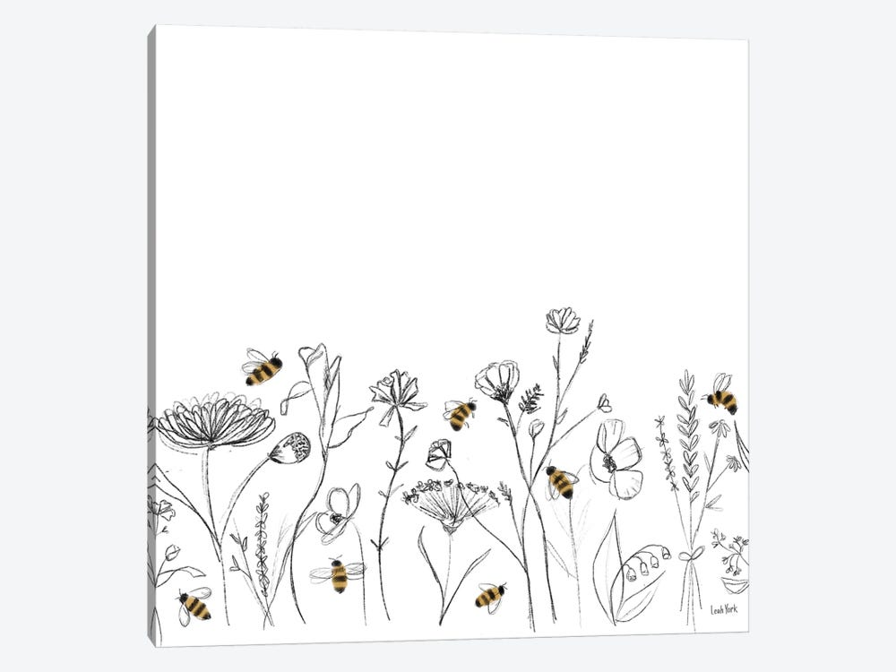 Bees and Botanicals Pattern IX by Leah York 1-piece Art Print