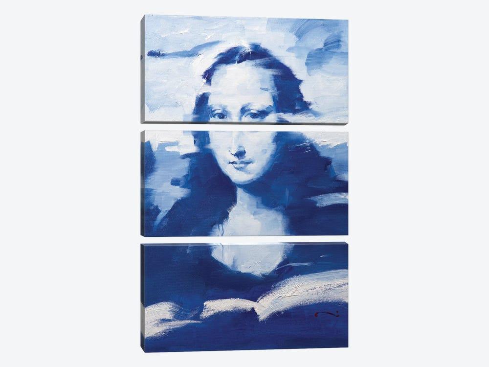 Mona In Blue by Li Zhou 3-piece Canvas Art