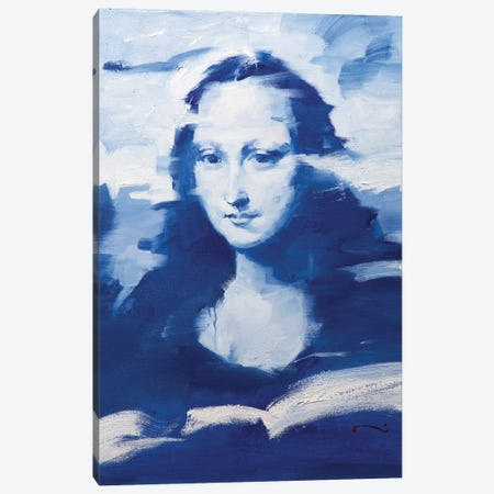 Mona In Blue Canvas Print #LZH19} by Li Zhou Canvas Wall Art