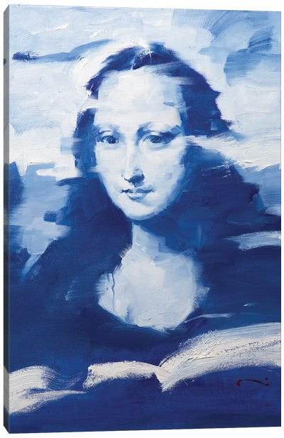 Mona In Blue Canvas Art Print