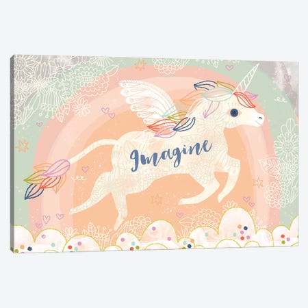 Imagine Unicorn Canvas Print #LZY1} by Lizzy Doyle Art Print