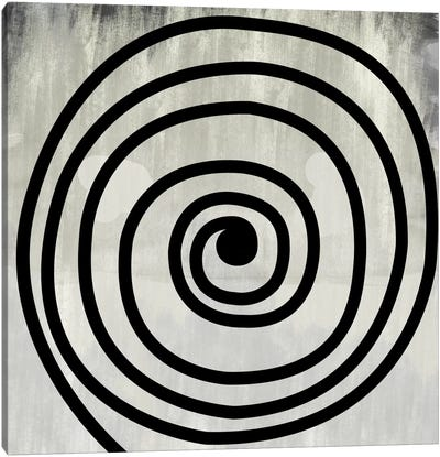 Mid Century Modern Art- Black Swirl Canvas Art Print