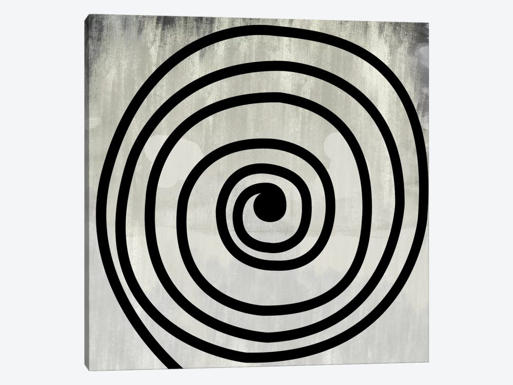 Mid Century Modern Art- Black Swirl by 5by5collective 1-piece Canvas Art Print