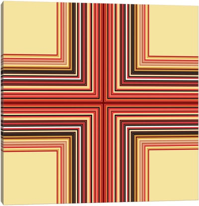 Mid Century Modern Art- Geometric Pattern Cross Canvas Art Print