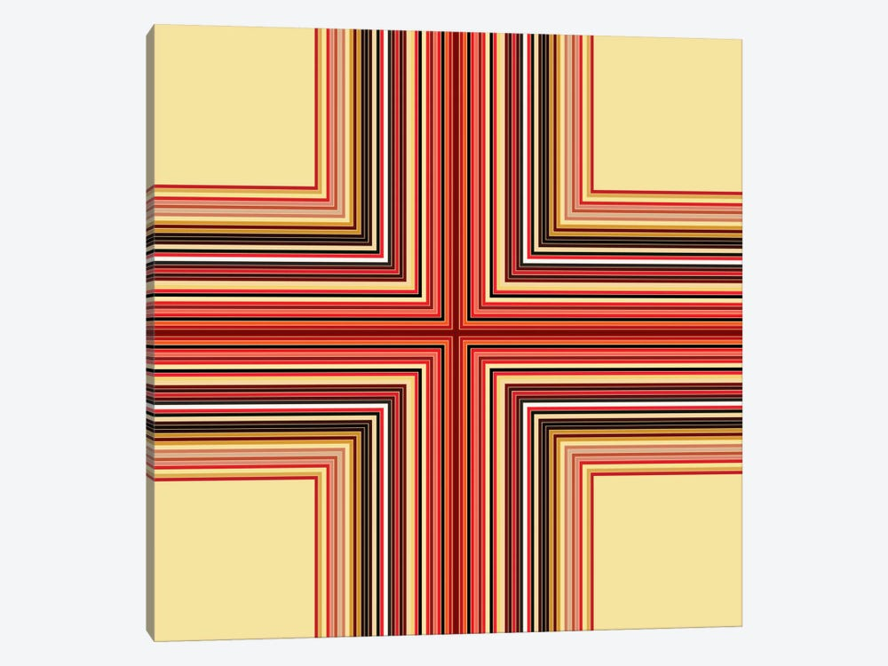 Mid Century Modern Art- Geometric Pattern Cross by 5by5collective 1-piece Canvas Wall Art