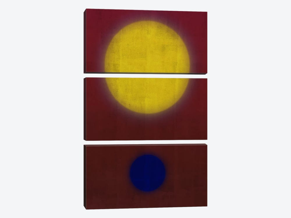 Modern Art- Earth & Sun by 5by5collective 3-piece Canvas Art Print
