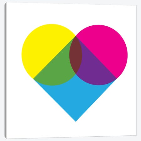Modern Art- Fluorescent Heart Diagram Canvas Print #MA142} by 5by5collective Canvas Wall Art