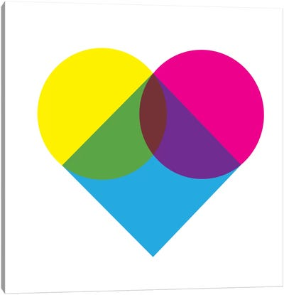 Modern Art- Fluorescent Heart Diagram Canvas Art Print