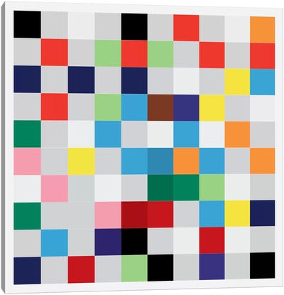 Modern Art- Pixilated Tile Art Colorful Square Pattern Canvas Art Print