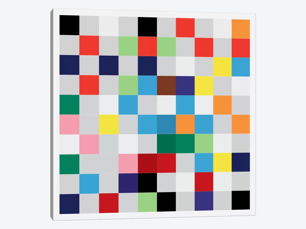 Modern Art- Pixilated Tile Art Colorful Square Pattern 1-piece Art Print
