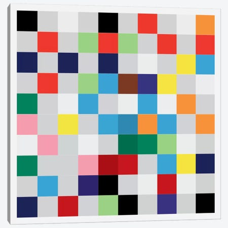 Modern Art- Pixilated Tile Art Colorful Square Pattern Canvas Print #MA143} by 5by5collective Canvas Artwork