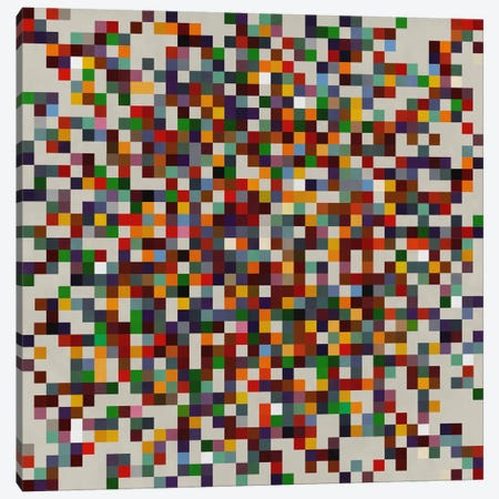 Modern Art- Pixilated Tile Art Colorful Cluster Canvas Print #MA148} by 5by5collective Canvas Wall Art