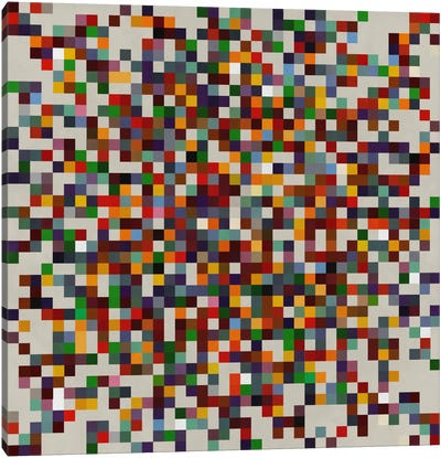 Modern Art- Pixilated Tile Art Colorful Cluster Canvas Print #MA148