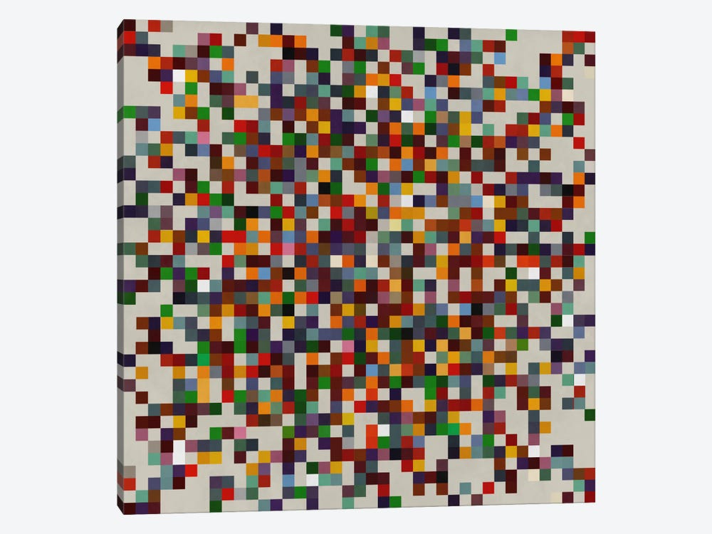 Modern Art- Pixilated Tile Art Colorful Cluster 1-piece Canvas Art