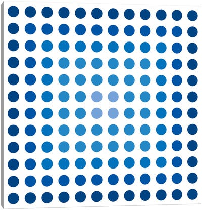 Modern Art- Faded Navy Dots Canvas Art Print