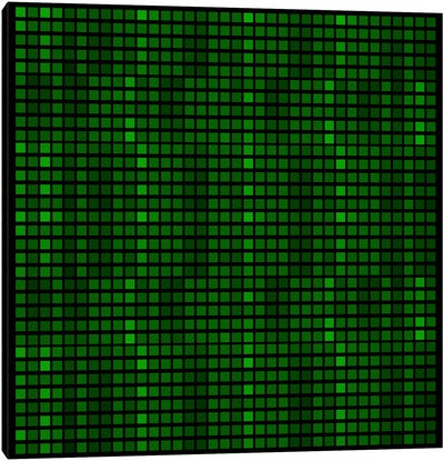 Modern Art- Tile Art Green Code Canvas Print #MA195