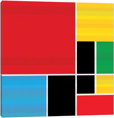 Modern Art- Colored Composition (After Mondrian) Canvas Art Print