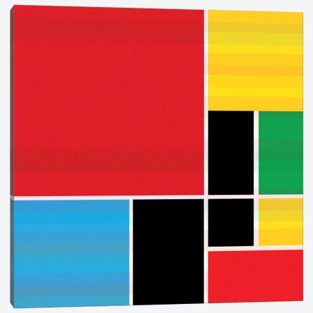 Modern Art- Colored Composition (After Mondrian) Canvas Print #MA219} by 5by5collective Canvas Wall Art