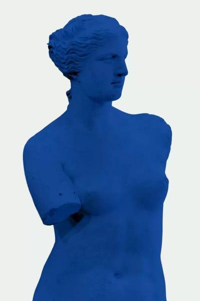 Modern Art Venus De Milo Blue Art Print By