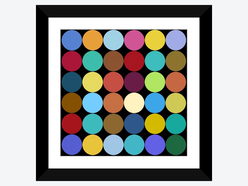 Modern Art- Dots Nine Colors Framed Print By