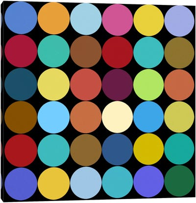 Modern Art- Dots Nine Colors Canvas Art Print