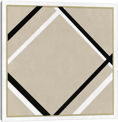 Modern Art- Lozenge with Four Lines & Gray Canvas Print #MA277