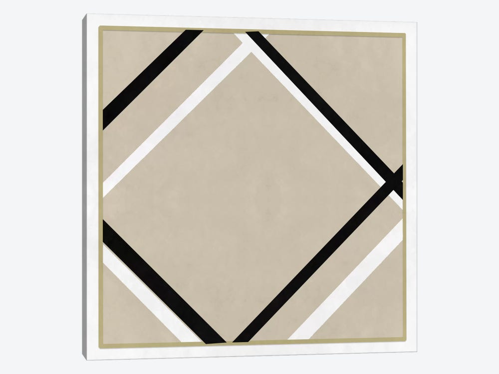 Modern Art- Lozenge with Four Lines & Gray by 5by5collective 1-piece Canvas Art