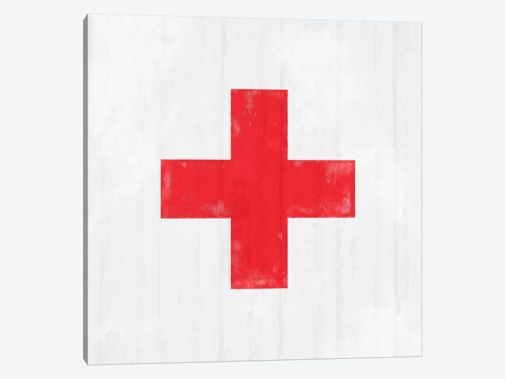 Modern Art- Red Cross by 5by5collective 1-piece Canvas Wall Art