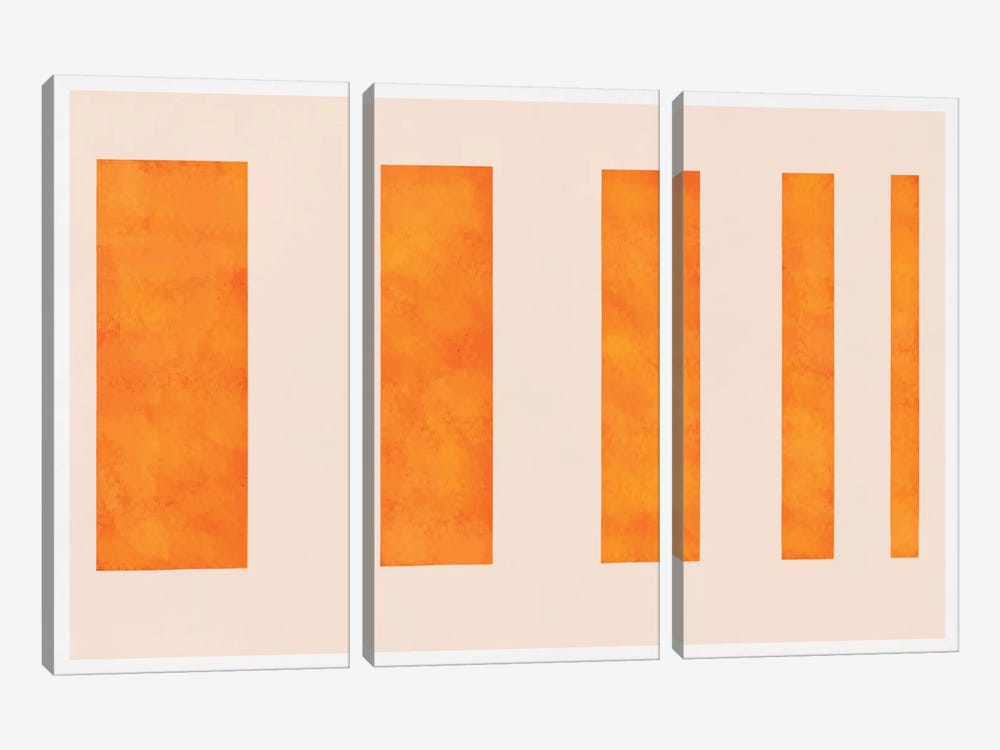 Modern Art - Orange Levies by 5by5collective 3-piece Art Print