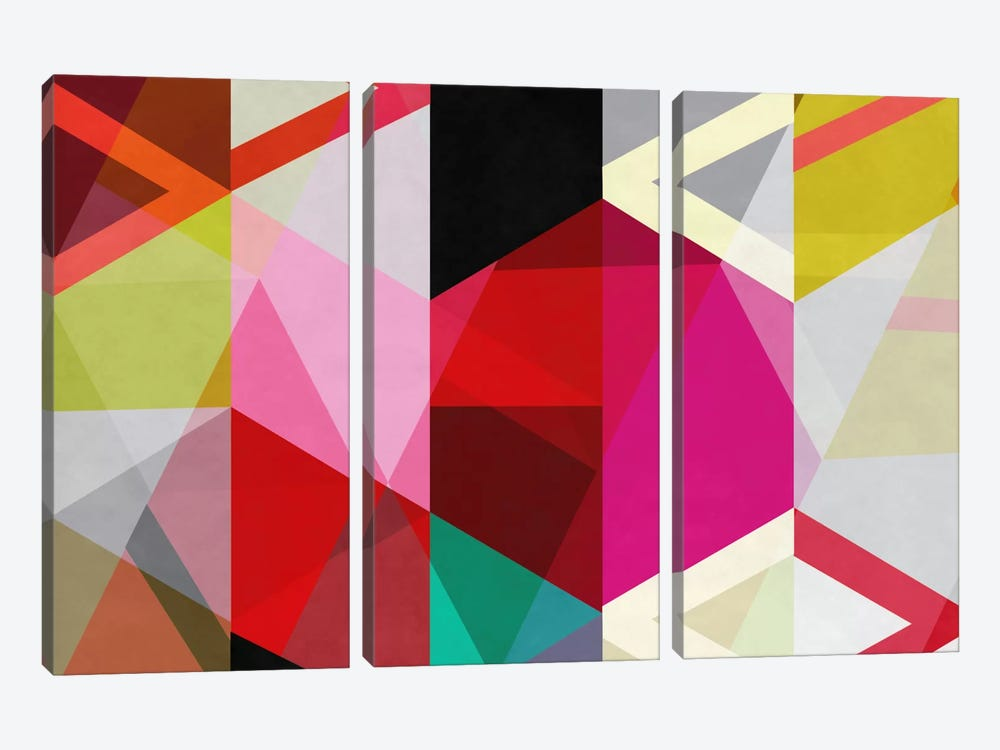 Modern Art - View Through a Kaleidoscope by 5by5collective 3-piece Canvas Artwork