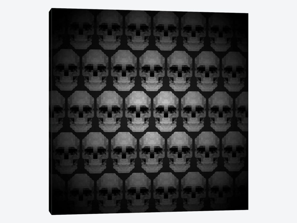 Modern Art- Pixilated Skulls 1-piece Canvas Art