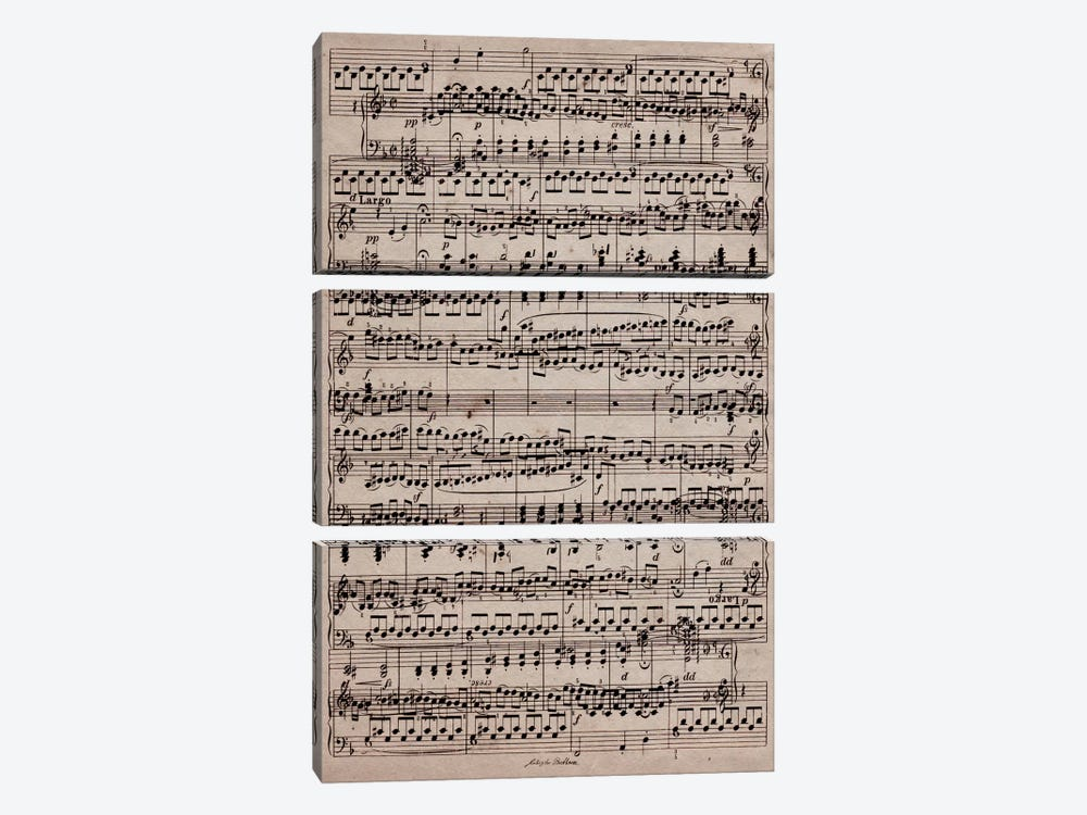 Modern Art - Sheet Music Ode to Joy by 5by5collective 3-piece Canvas Art