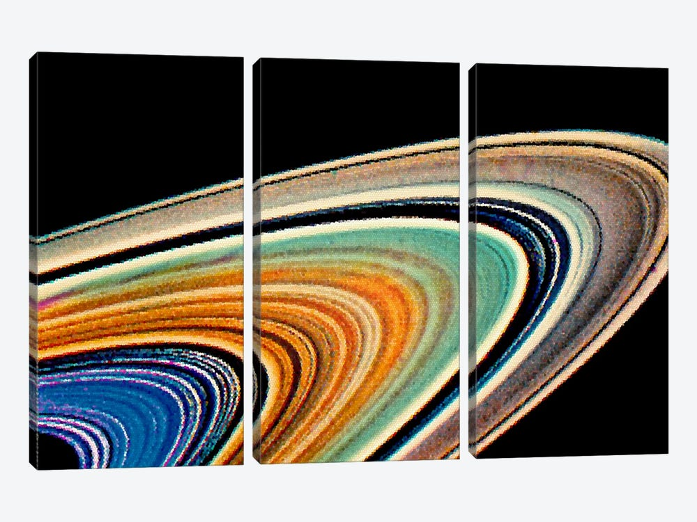 Modern Art - Rings of Saturn by 5by5collective 3-piece Canvas Wall Art