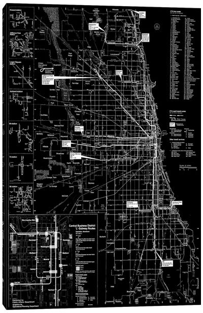 Modern Art - Chicago Transit Negative Canvas Art Print