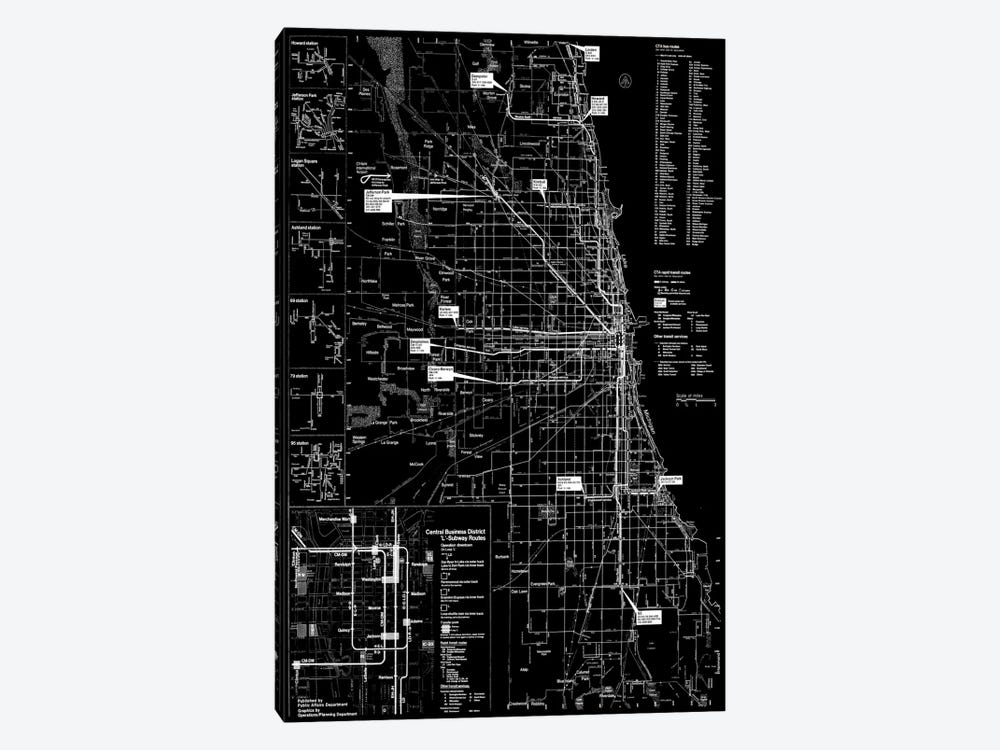 Modern Art - Chicago Transit Negative by 5by5collective 1-piece Canvas Artwork