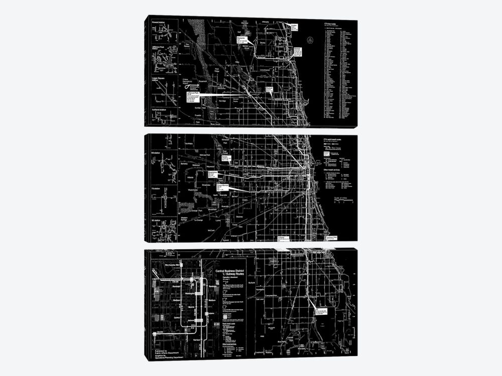 Modern Art - Chicago Transit Negative by 5by5collective 3-piece Canvas Art